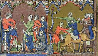Benjamin - An illustration from the Morgan Bible of Benjamin being returned to Egypt (Genesis 44).