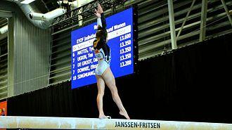 Balance beam - Italian gymnast, Lara Mori, competes beam at the 2013 European Youth Olympic Festival.