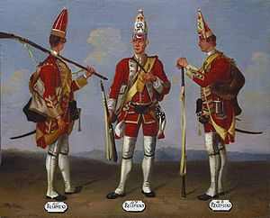 David Morier - A representative panel of the Grenadier Paintings, depicting privates of the 46th, 47th and 48th Reg'ts. of Foot in route march order, by Morier