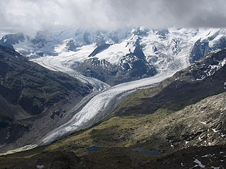 Retreat of glaciers since 1850 - Morteratsch (right) and Pers (left) glaciers in 2005