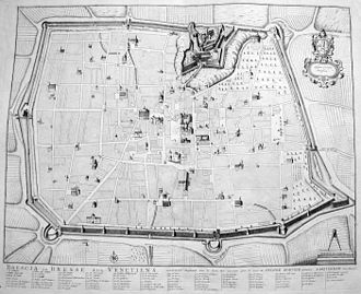 Brescia - Map of Brescia in the early 18th century.