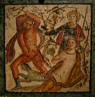 Ambrosia - Lycurgus attacking the nymph Ambrosia (mosaic from Herculaneum, 45–79 AD)