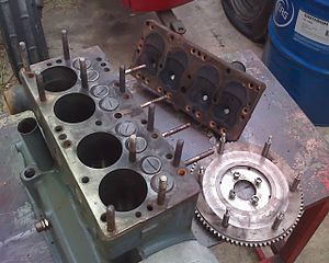 Threaded rod - Balilla engine with cylinder head removed, showing the studs that normally hold it in place.