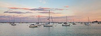 Le port Monroe vu de Grant Park, à Chicago. (définition réelle 5436×1945)
