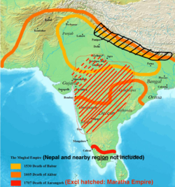 Map of Mughal Empire.