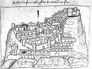 Medina-Sidonia - 16th century map of Medina-Sidonia, by Pedro Barrantes Maldonado.
