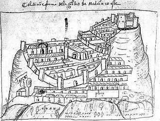 Medina-Sidonia - 16th century map of Medina-Sidonia, by Pedro Barrantes Maldonado.