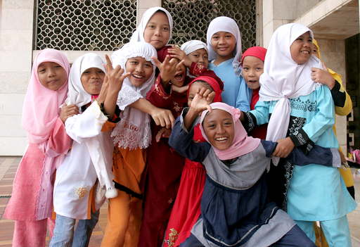 Muslim girls at Istiqlal Mosque jakarta