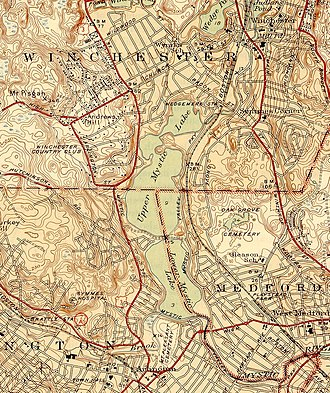 Mystic Lakes (Boston) - The Upper and Lower Mystic Lakes.