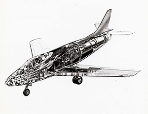North American YF-93 - Cut-away illustration of the YF-93A.