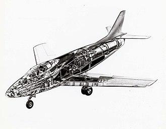 North American YF-93 - Cut-away illustration of the YF-93A.