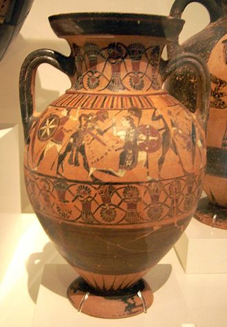 Tyrrhenian amphorae - Tyrrhenian amphora by the Prometheus Painter. Front: amazonomachy – Herakles combats Andromache, Telamon fights Anipe and Iphis (Herakles' wife) fights Panariste. Unknown origin, ''circa 550 BC. Athens: National Museum.