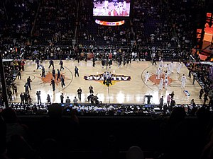 2009 NBA All-Star Game - Players warming up before the game at the US Airways Center.