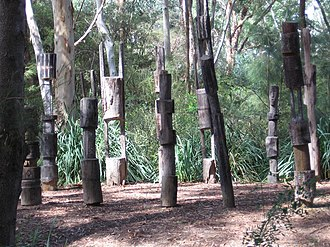 Work of art - Sculpture garden of the National Gallery, Canberra with graveposts from Vanuatu