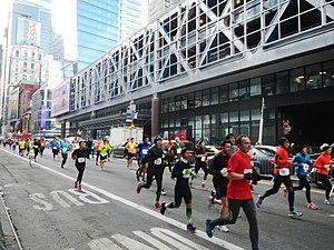 New York City Half Marathon - Passing Port Authority Bus Terminal in 2013.
