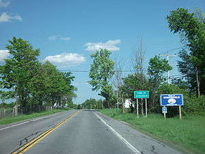Signage denoting entrance into the town of Stockholm along New York State Route 11B.