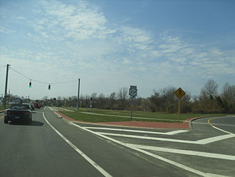 New York State Route 27A - NY 27A westbound at the junction with NY 231 in Babylon
