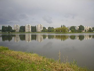 Nad jazerom - The lake and a housing estate at Nad jazerom