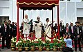 Narendra Modi and the Prime Minister of Bangladesh, Ms. Sheikh Hasina flagging off the International Bus Services between India & Bangladesh, in Dhaka. The Chief Minister of West Bengal, Kumari Mamata Banerjee is also seen (2).jpg