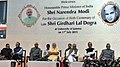 Narendra Modi at the function to mark the birth centenary of Late Shri Girdhari Lal Dogra, in Jammu University, Jammu and Kashmir. The Governor of Jammu and Kashmir, Shri N.N. Vohra, the Union Minister for Finance.jpg