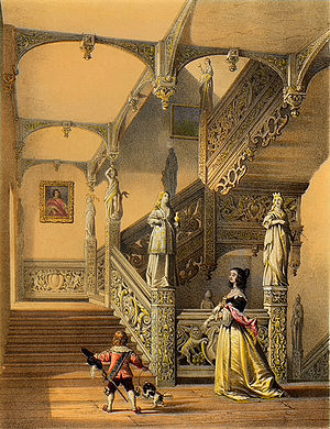 Aldermaston - Joseph Nash's 1849 lithograph of the staircase at Aldermaston Manor