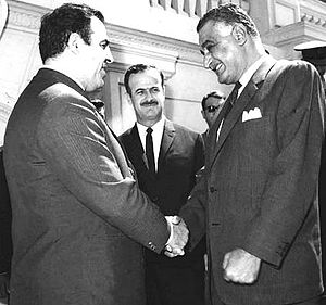Hafez al-Assad - Assad (center) and Nureddin al-Atassi (left) meeting with Egyptian President Gamal Abdel Nasser, 1969