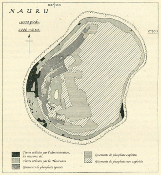 Japanese occupation of Nauru - 1940 map of Nauru showing the extent of the phosphate mined lands
