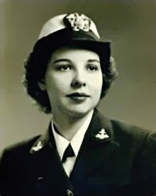 Female WAVE officer in dress blue uniform