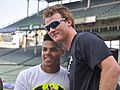 Neall French with Pelican Player and High School Baseball Prospect Nick Plummer.JPG