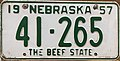 Nebraska license plate 1957 from the private collection of Jim Smith.jpg