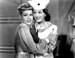 Martha Scott and Negri in a publicity still from Hi Diddle Diddle (1943) Negri Scott 5.jpg