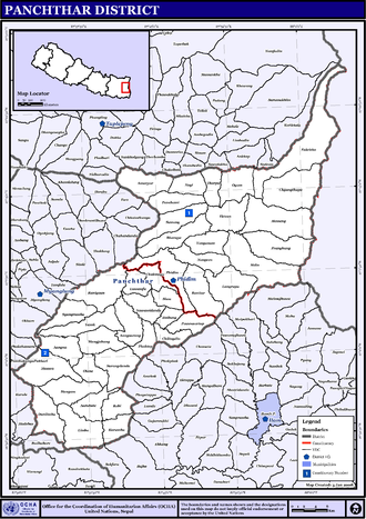 Panchthar District - Map of the VDCs in Panchthar District