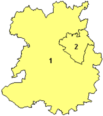 "Shropshire Council - The ceremonial county and unitary authorities from 1 April 2009; the larger ""Shropshire"" unitary authority (1) and Telford and Wrekin (2)"