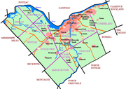 Map of Ottawa showing urban area, highways, waterways, and historic townships