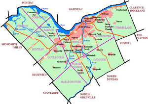 City of Ottawa - Map of post-2001 Ottawa showing urban area, highways, waterways, and historic townships