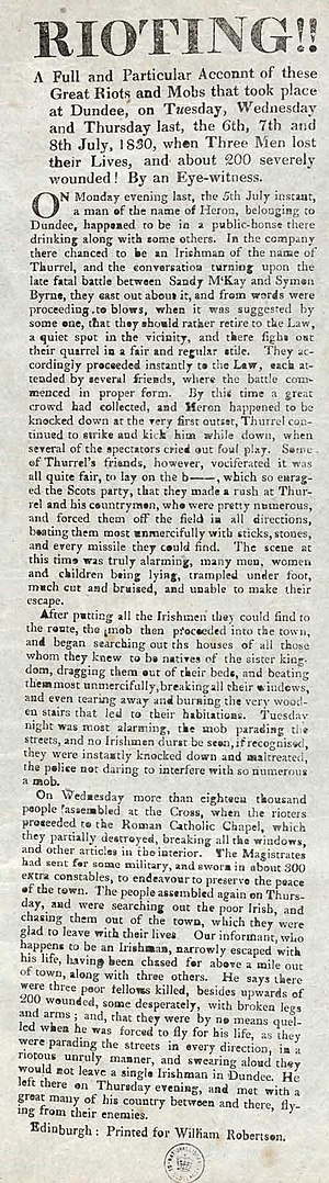 Simon Byrne - Newspaper report of rioting against the Irish population of Dundee following McKay's death