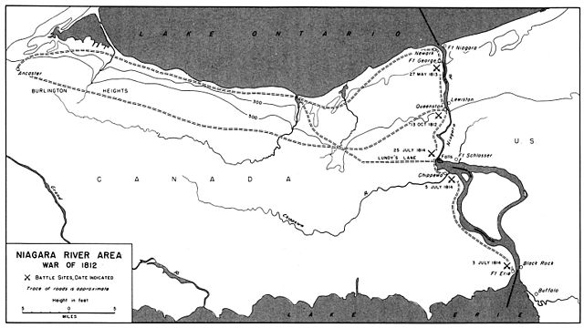 The Niagara Peninsula during the War of 1812, with points of interests around the Niagara River marked.