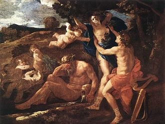 Peneus - Peneus averts his gaze as Apollo, pierced by Cupid's arrow of desire, pursues  Daphne, transforming into the laurel (Apollo and Daphne, 1625, by Poussin)