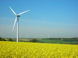 The village and wind turbines