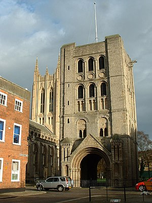 Bury St Edmunds Abbey - The Norman Tower, a gateway and belltower next to the modern cathedral
