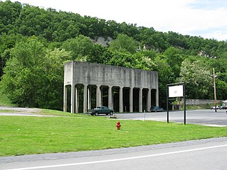 Berkeley Springs, West Virginia - Storage bins (no longer in use).  At one time, they were used by the local sand mine for loading train cars for distribution.