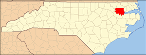 National Register of Historic Places listings in Bertie County, North Carolina - Image: North Carolina Map Highlighting Bertie County