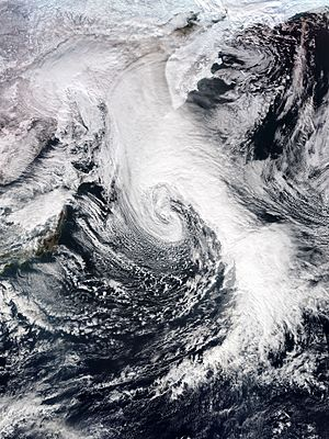 Extratropical cyclone - A powerful extratropical cyclone over the North Pacific Ocean in January 2017, with an eye-like feature and a long cold front extending to the tropics.