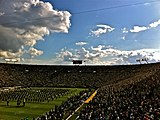 The Band of the Fighting Irish plays inside Notre Dame Stadium.