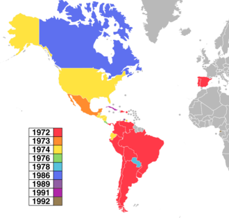 OTI Festival - Map of the OTI Festival participating countries by debut year