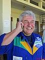 O primeiro astronauta brasileiro, o bauruense Marcos Pontes falando no telefone no Aeroclube de Bauru, este local era uma fonte de inspiração quando criança no desejo de voar. Seu irmão, Luiz Carlos - panoramio.jpg