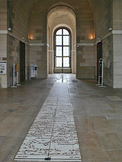 The Paris meridian, which passes through the Observatoire de Paris. The metre was defined along this meridian using a survey that stretched from Dunkirk to Barcelona. Obs-Paris-meridienne.jpg