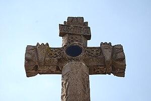 Ciudad Hidalgo, Michoacán - Close-up of atrium cross showing the obsidian mirror