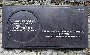 Kevin O'Higgins - 2012 memorial plaque to O'Higgins, located near the site where he was shot. Red paint was sprayed over this memorial at the junction of Cross Avenue and Booterstown Avenue within its first week, and it was further damaged shortly afterwards. It was removed some two weeks later and has not returned.