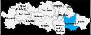 Udavské - Location of Humenné District in the Prešov Region.
